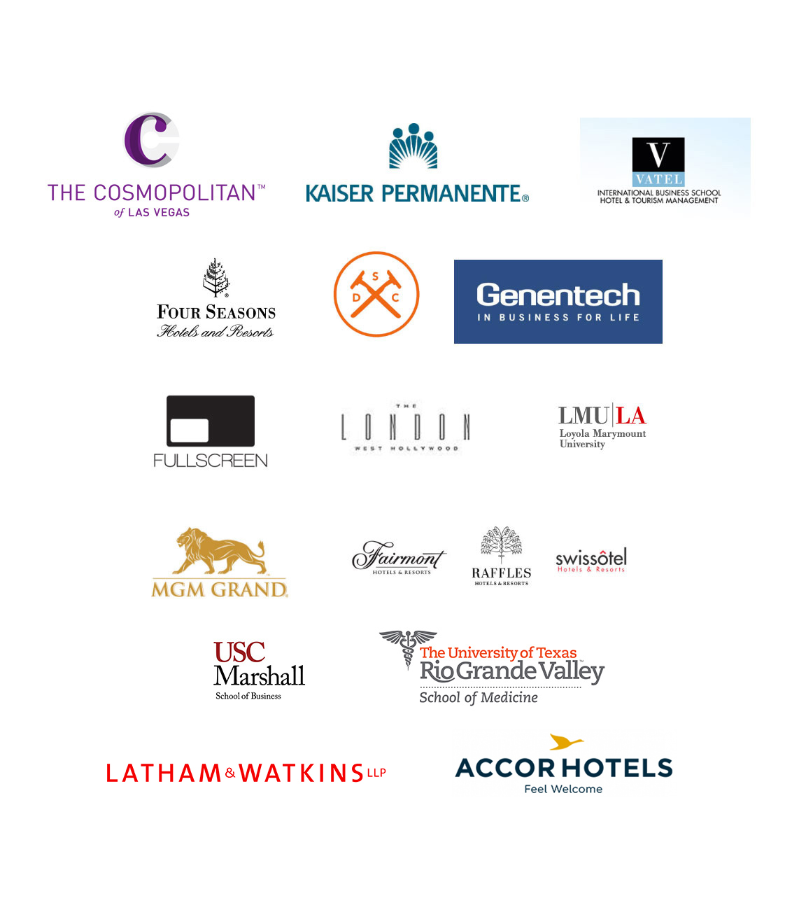 Company logos: The Cosmopolitan of Vegas, Kaiser Permanente, Dollar Shave Club and more.